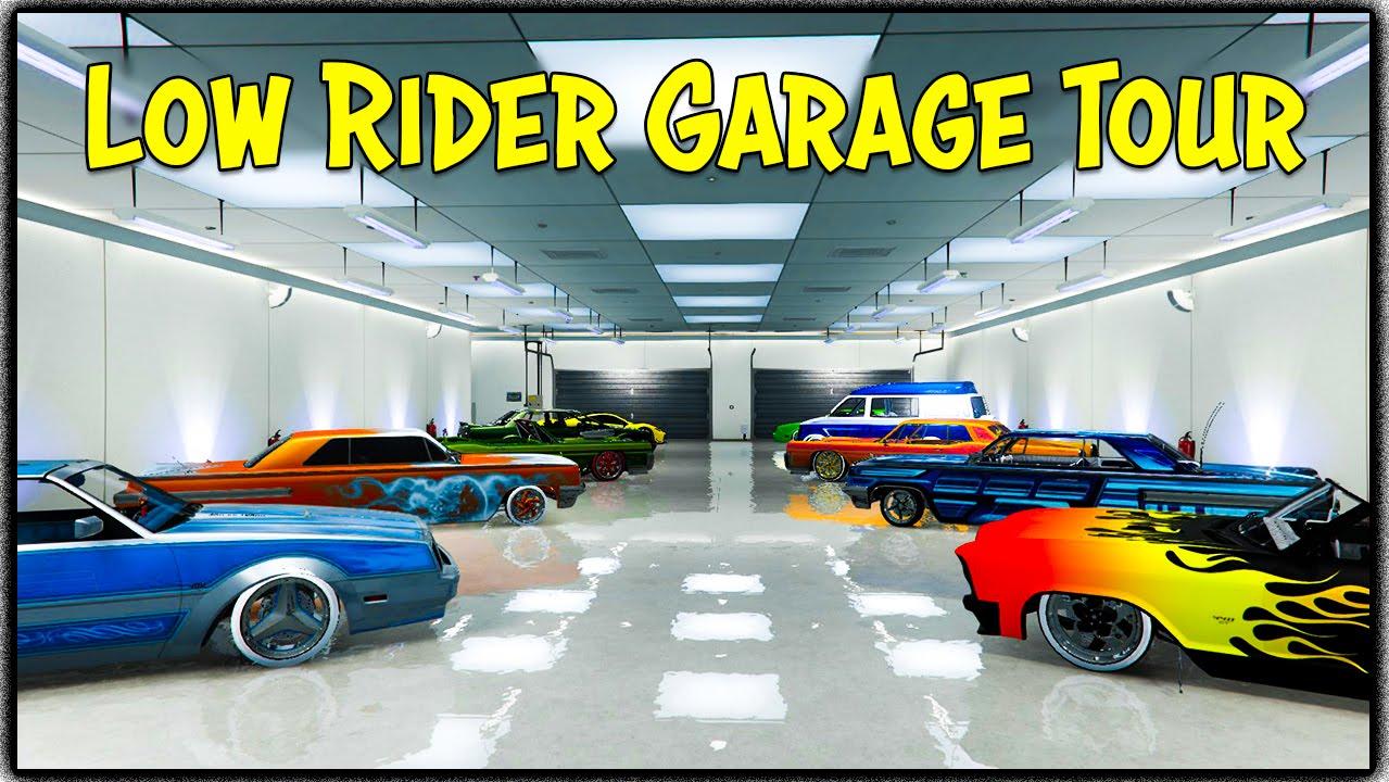 Gta 5 online my custom lowrider garage tour gta v for Garajes gta v online
