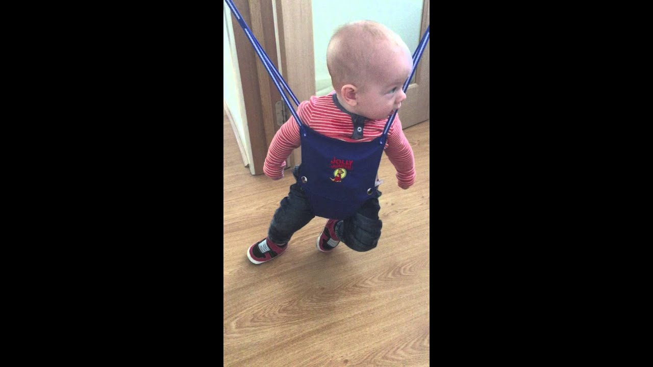 1755c58770cd Baby (5 month old) dancing on the jolly jumper - YouTube