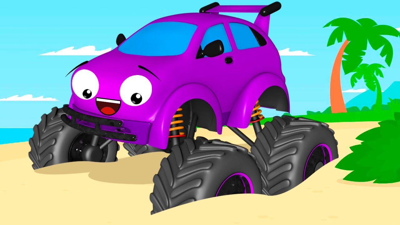 Monster Truck And Car Friends Sea Racing Cartoon For Kids Youtube