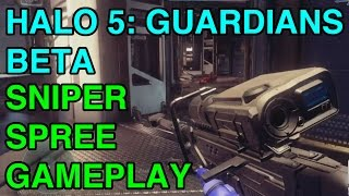 Halo 5 Guardians Beta: Sniper Headshot Spree Gameplay | WikiGameGuides