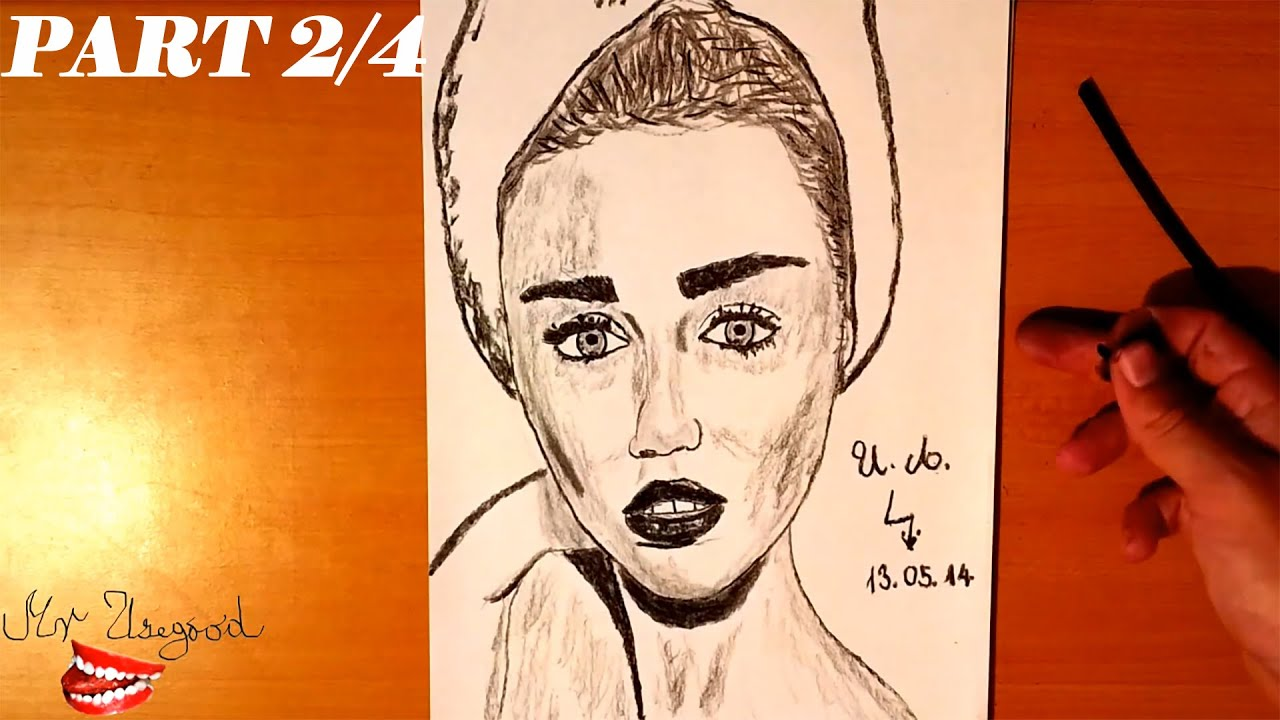 How To Draw Miley Cyrus Step By Step Easy And Shade 3d Charcoal Portrait On Paper Tutorial 2 4 Youtube