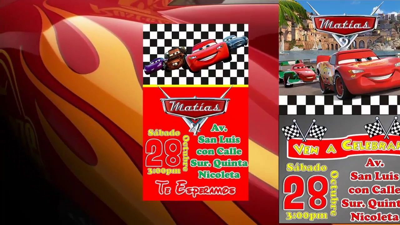 Invitación de Cars, Rayo McQueen, para Cumpleaños en WhatsApp, Mail, Facebook e instagram YouTube