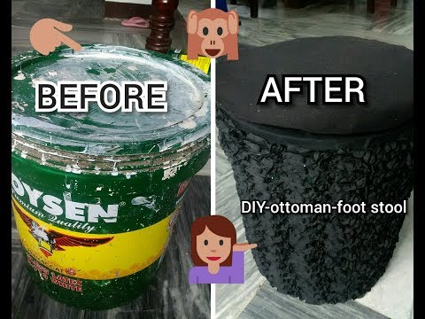 DIY- HOW TO MAKE BEAUTIFUL OTTOMAN/FOOTSTOOL OUT OF RECYCLED PLASTIC CONTAINER