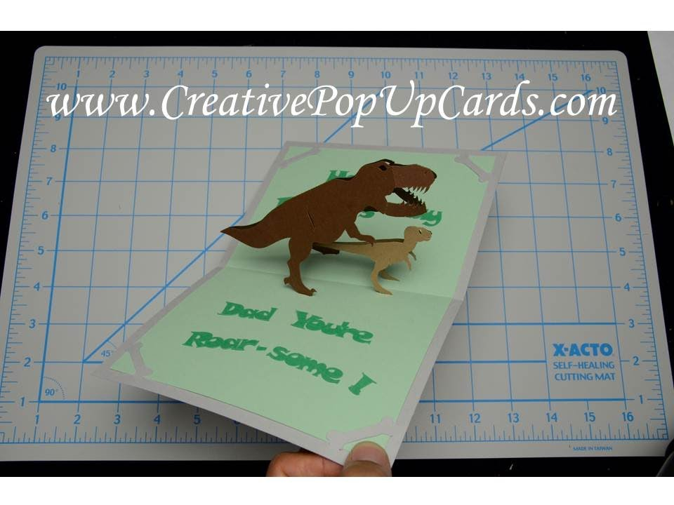 Fathers Day Dinosaur Pop Up Card Tutorial Youtube