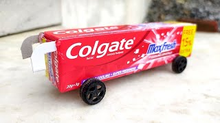 How to make a Bus from Colgate box | simple and easy magnetic bus from cardboard