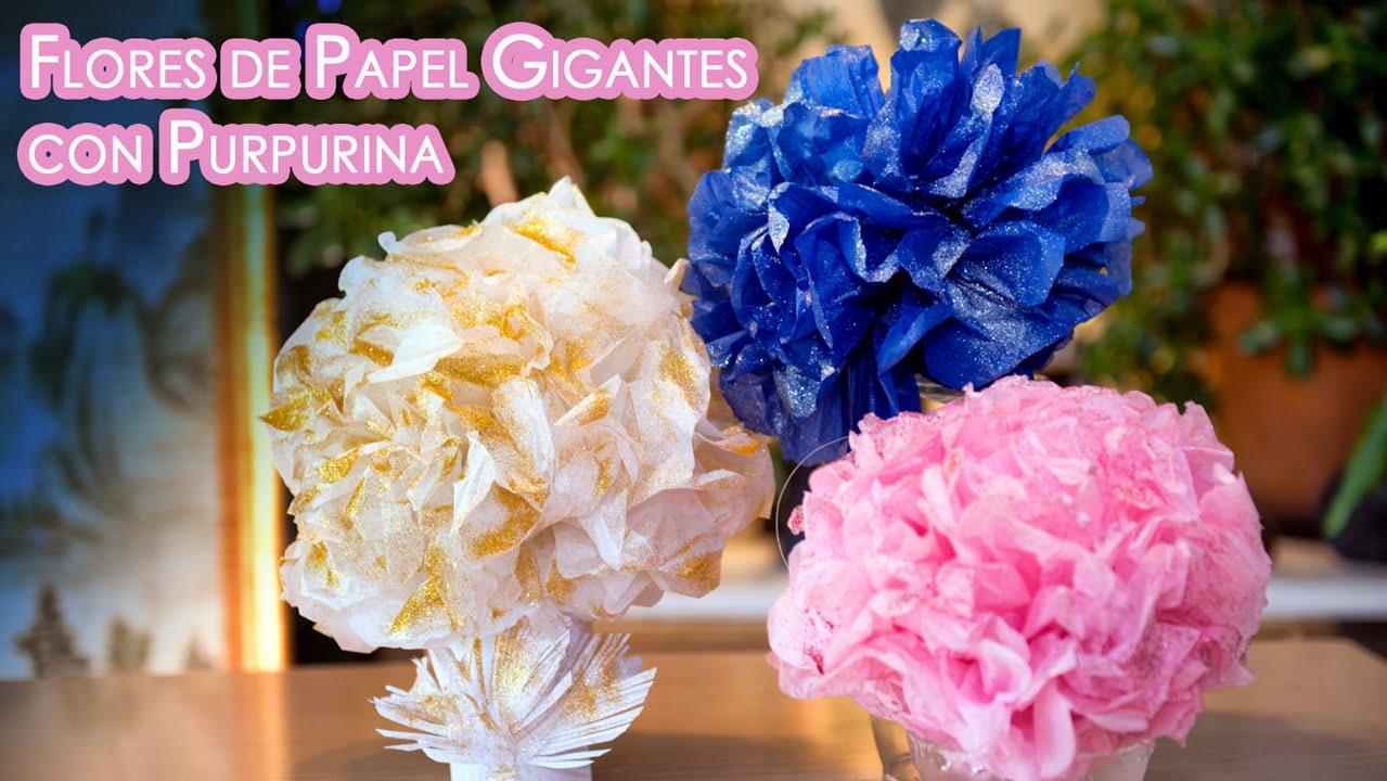flores de papel con glitter gigantes para centro mesa o decoracion youtube