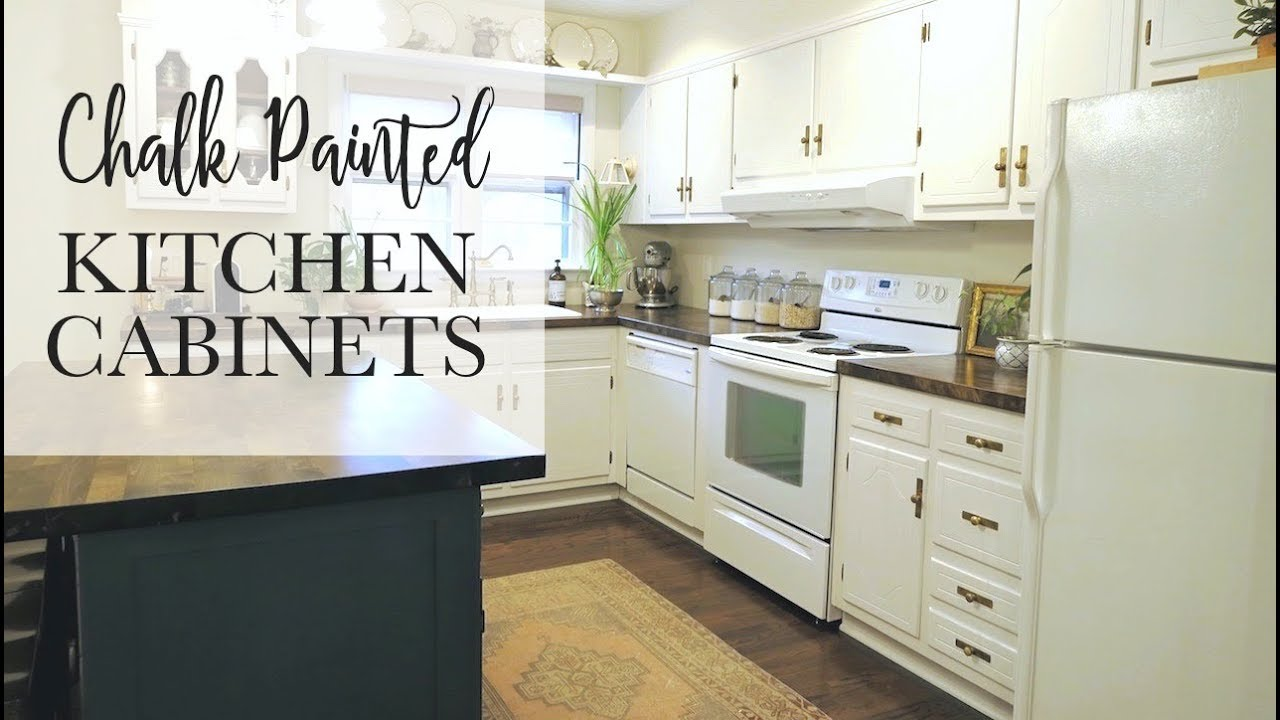 Kitchen Cabinets Painted Linen White our $75 chalk paint cabinet transformation | no sanding! - youtube