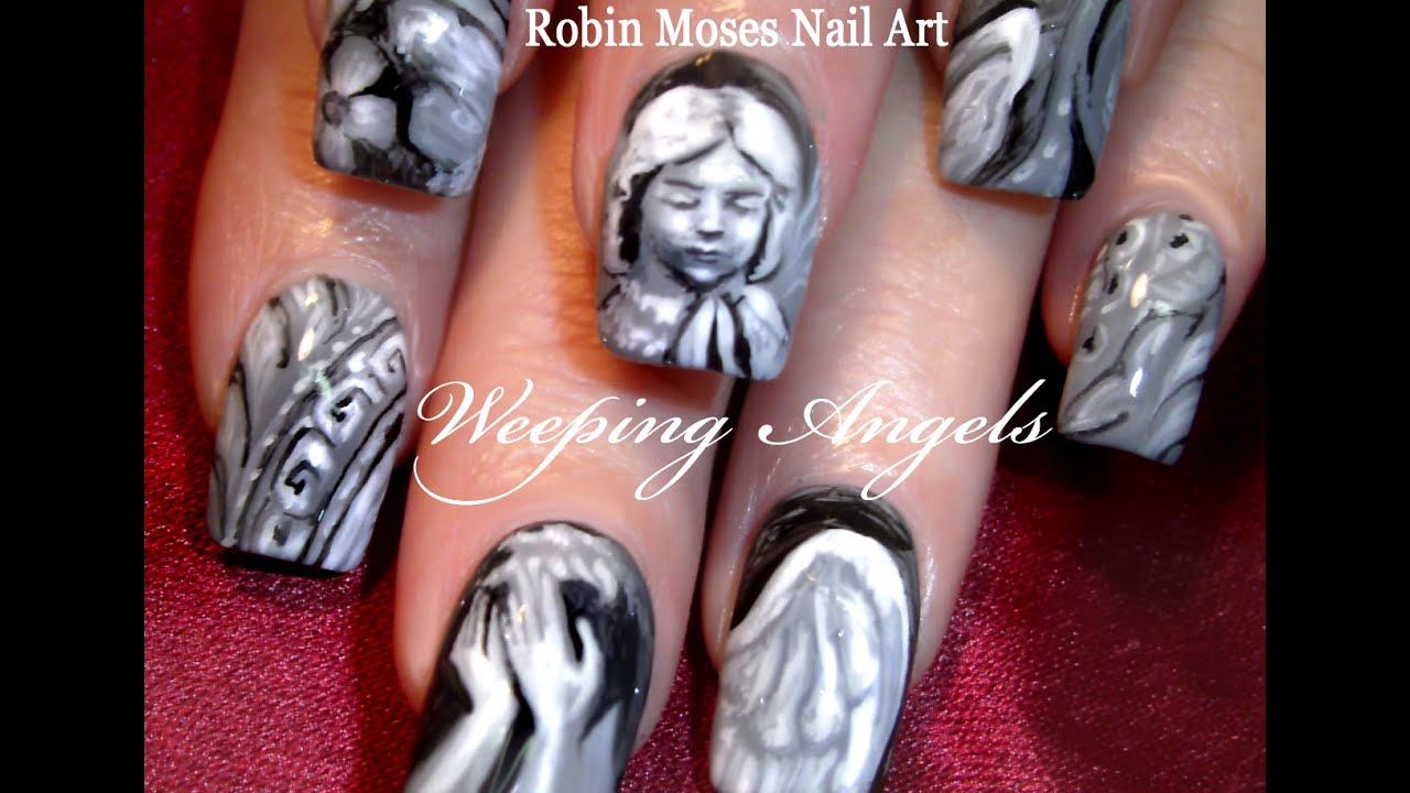 Doctor Who Nails Weeping Angels Nail Art Design Tutorial Youtube
