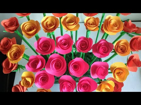 How to Make Paper Rose Flower| DIY | Paper Craft |Easy Craft