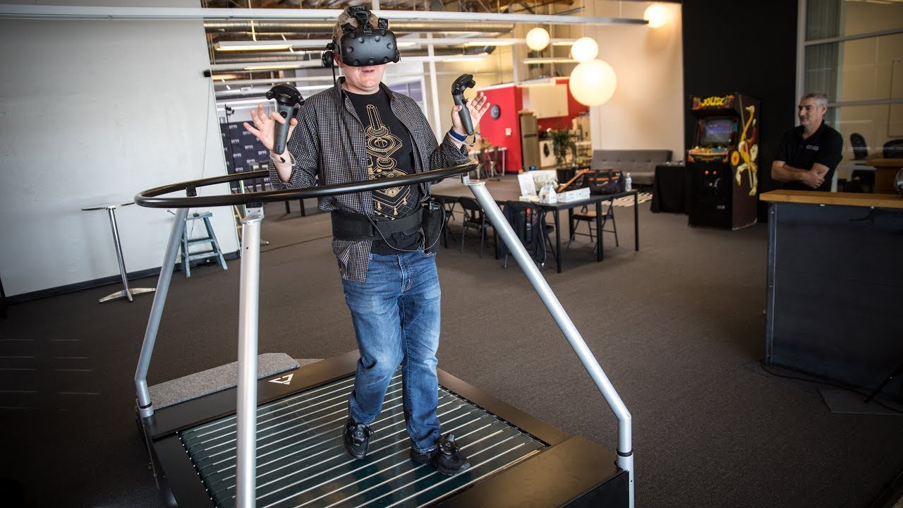 Hands on with vr omnidirectional treadmill youtube for Vr for home
