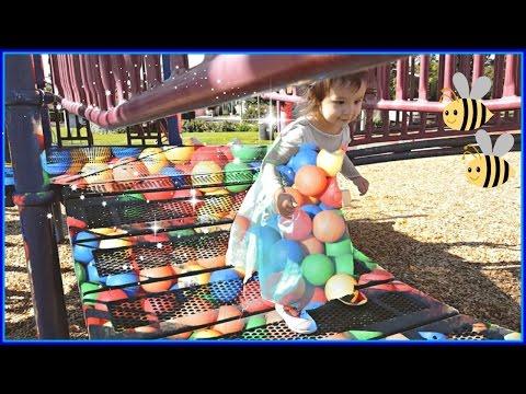 Little Girl Elsa Transforms Playground into Magic Balls