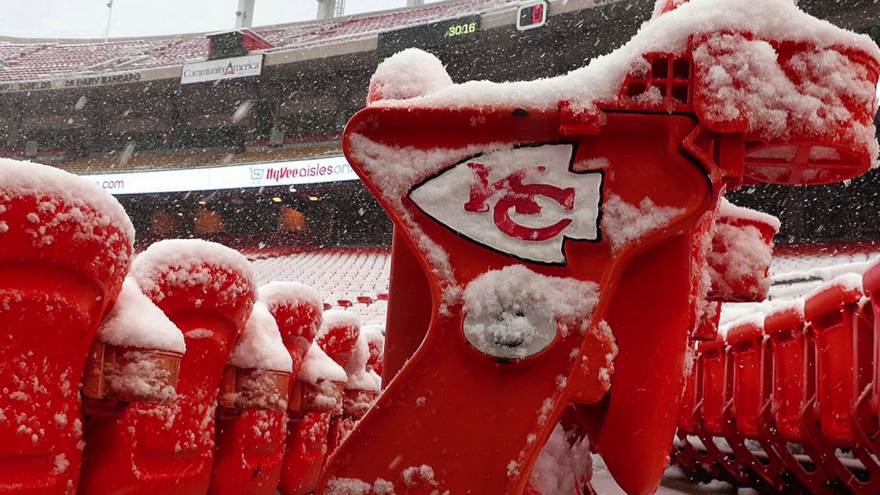 Snow Blasts Arrowhead Stadium Before Colts Vs. Chiefs Game