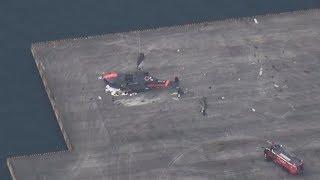 海自ヘリ横転、4人搬送  訓練中に岩国航空基地で