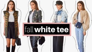 How To Style: A Basic White T-Shirt For Fall + LOOK BOOK | Casual and Office Inspiration