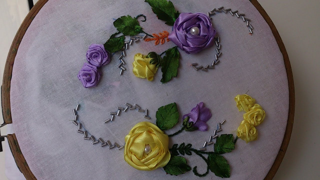 Ribbon Embroidery Stitches By Hand Tutorial Ribbon Rose Embroidery Designs For Dresses