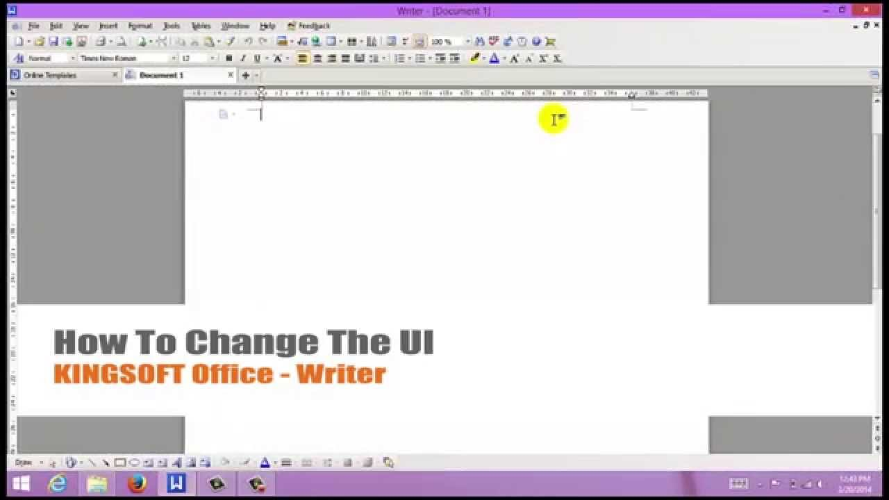 How to Change the UI in Kingsoft Writer for Windows