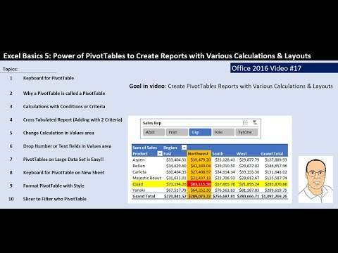 Excel Basics 5: PivotTable Power to Create Reports with Various Calculations & Layouts