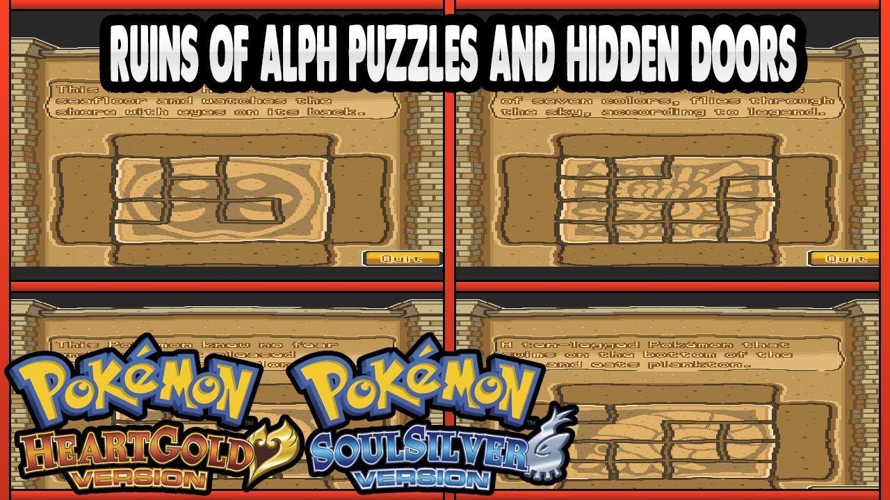 Pokemon Heartgold And Soulsilver Ruins Of Alph Puzzles And Hidden Doors Solved Youtube