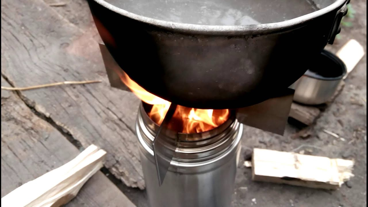 Wood gas stove from thermos BioLite DIY :) - video-1 - YouTube