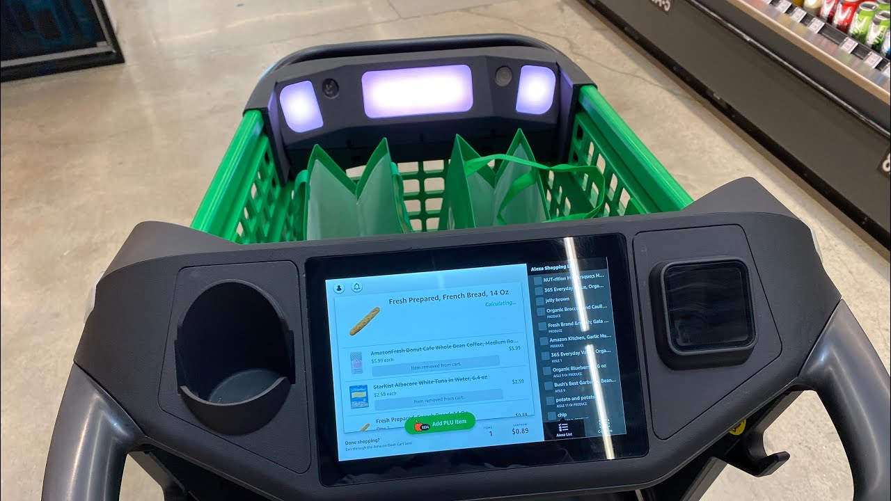 Magical Dash shopping cart demo at Amazon Fresh grocery store Woodland Hills