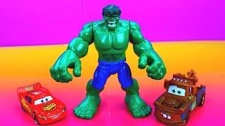 Incredible Hulk saves Radiator Springs Mater Lightning McQueen from imaginext Joker and Mr. Freeze