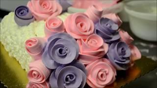 Украшение тортов | Как украсить торт розами из крема на день рождения