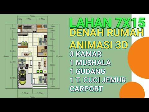 Gambar Desain Rumah Minimalis 7 X 15  denah rumah lahan 7x15 3 kamar tidur youtube