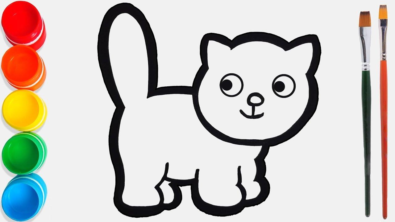 Cara Menggambar Dan Mewarnai Kucing Mainan Video Pendidikan Untuk Anak Anak