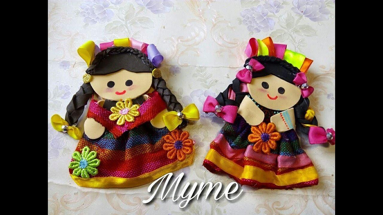 muñecas de fomi y tela muñequitas mexicanas muñecas tipicas de
