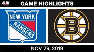 NHL Highlights | Rangers vs Bruins - Nov. 29, 2019
