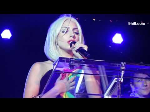 Lady Gaga's Speech and Sings National Anthem At Gay celebration