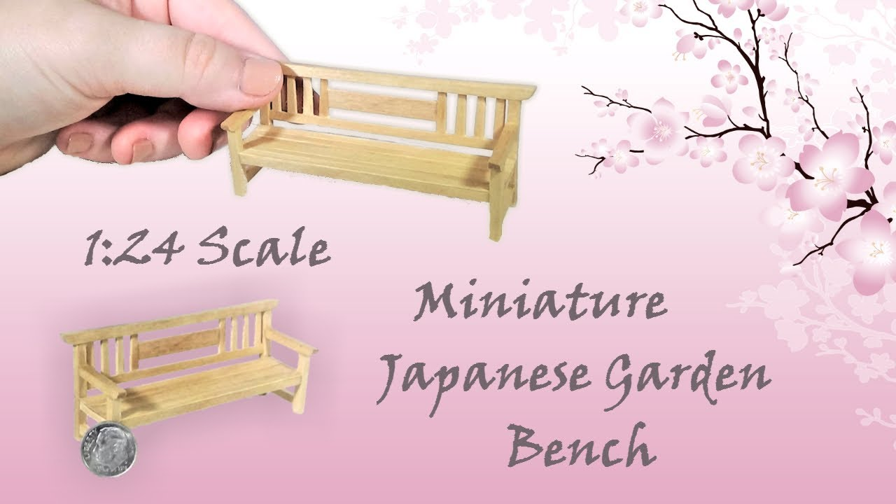 Miniature Japanese Garden Bench Tutorial | Dollhouse | How To Make 1:24  Scale DIY