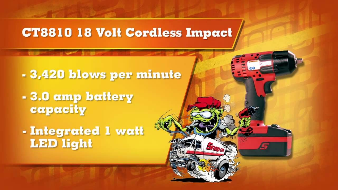 """1 2 Cordless Impact >> Snap-on CT8810 3/8"""" Drive 18V Lithium Cordless Impact 
