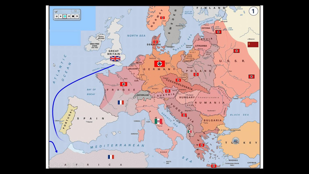 WWII   Map of Activity in Europe   YouTube