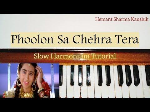 Phoolon Sa Chehra Tera Harmonium Tutorial   Notes Sargam