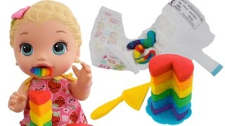 Baby Alive Doll Potty Training Eating Food Change Poop Diaper RainbowLearning