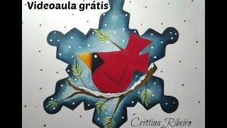 Floco de neve com pássaro, pintura em tecido – Cristina Ribeiro – Loucos Por Pintura