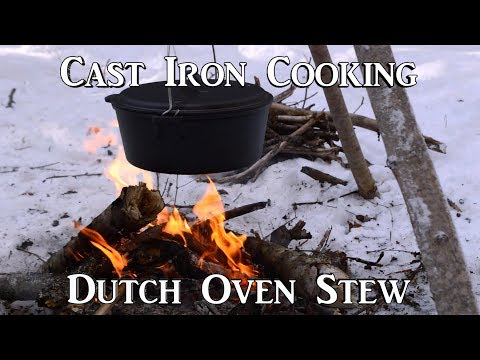 Cast Iron Cooking: Dutch Oven Slow Cook Stew Over A Fire.