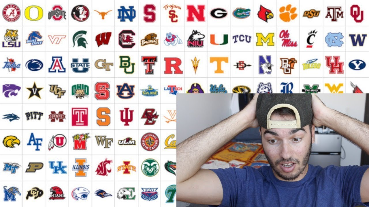 trying to guess all 128 college football nicknames youtube