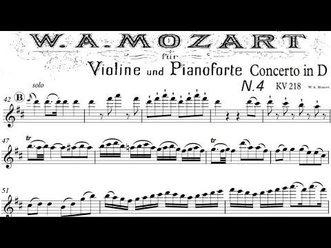 Mozart Violin Concerto No 4 in D, K 218 1mv piano accompaniment