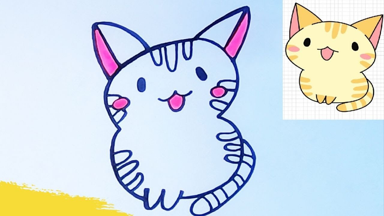 How to Draw a Cat Easy Step by Step|Coloring Page for kids ...