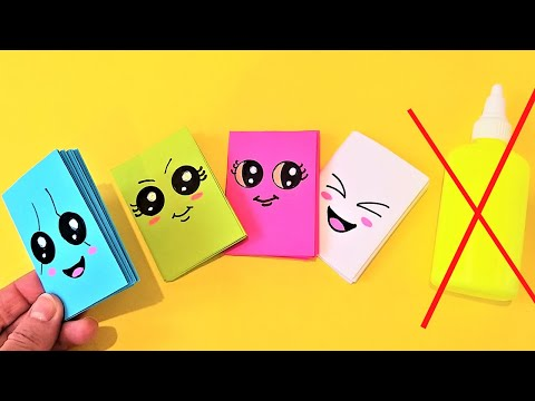 MINI NOTEBOOKS FROM ONEE SHEET OF PAPER - NO GLUE. Easy DIY Kawaii Paper Book - BACK TO SCHOOL