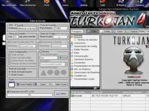 Criando um server no Turkojan 4 [www.hackarte.rg3.net] - YouTube
