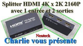 Le splitter HDMI 4K x 2K 2160P avec 1 entrée et 2 sorties Neoteck