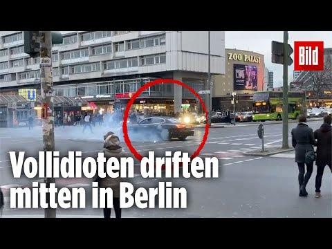 Autos driften am helllichten Tag auf belebter Kreuzung in Berlin | Gefährliche Aktion