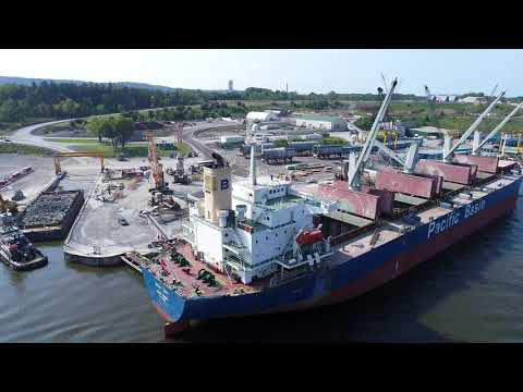 Port of Coeymans NY Hudson River Cargo Ship Loading Scrap Metal, Cranes, DJI Phantom 4