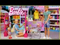 Familia Barbie Y Ken Compran En El Supermercado Y Rutina De Noche Con Niñera