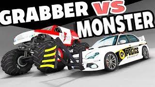 MONSTER TRUCK VS THE WHEEL GRABBER! EXPLOSIVE TAKEDOWNS! - BeamNG Drive Wheel Grabber Mod