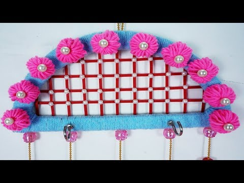 Unique Wall Hanging from Wool - New Way to Make Key Holder & Wall Hanging | Comb Trick Flower