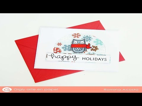 Christmas card simple and clean -  lawn fawn owl winter